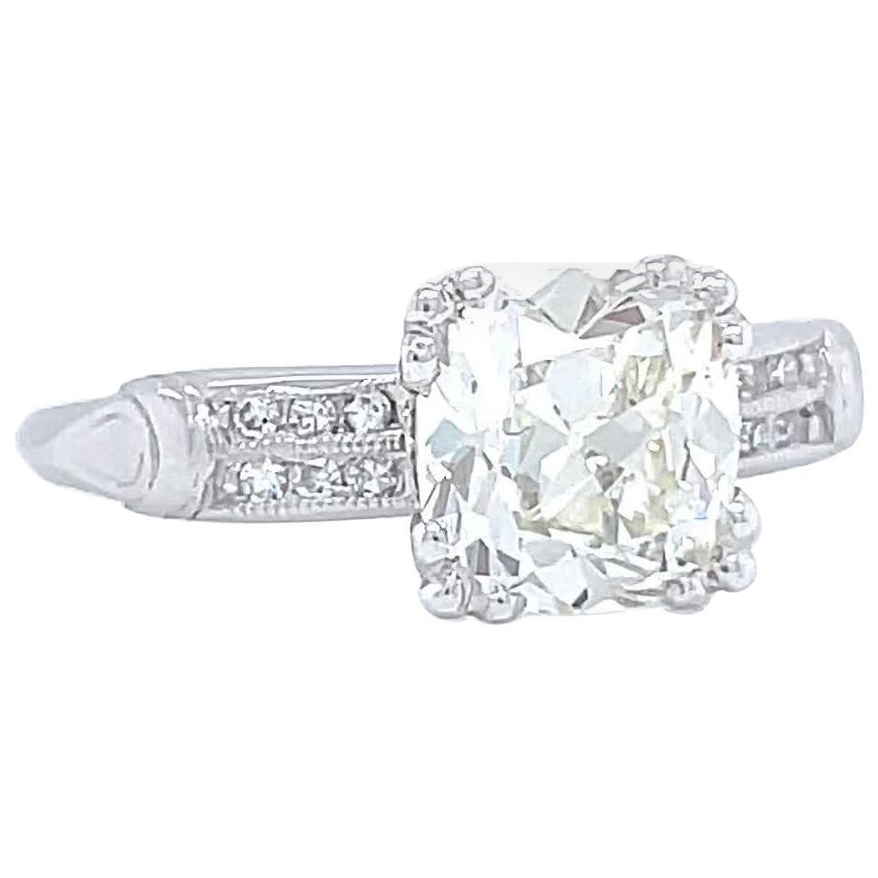 Art Deco GIA 1.58 Carat Antique Cushion Cut Diamond Platinum Engagement Ring