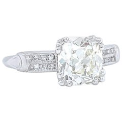 Art Deco GIA 1.58 Carat Antique Cushion Cut Diamond Platinum Engagement Ring
