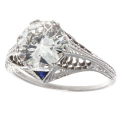 Art Deco GIA 1.86 Diamond Platinum Ring