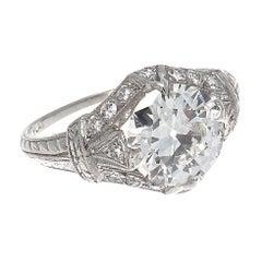 Art Deco GIA 1.88 Carat Old European Cut Diamond Platinum Engagement Ring