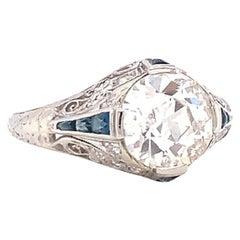 Art Deco GIA 2.01 Carat Old European Cut Diamond Sapphire Engagement Ring