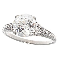 Art Deco GIA 2.04 Carat I VS2 Old European Cut Diamond Platinum Ring