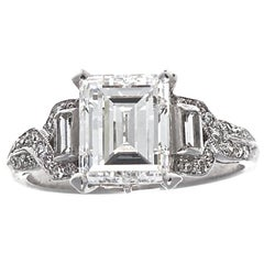 Art Deco GIA 2.07 Carat Emerald Cut Diamond Platinum Engagement Ring