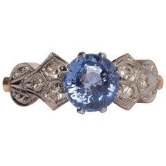 Art Deco GIA 2.09 Carat No-Heat Blue Sapphire 18 Karat Rose Gold Ring