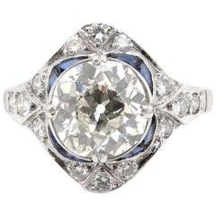 Art Deco GIA 2.15 Carat Antique Cushion Cut Diamond Platinum Ring