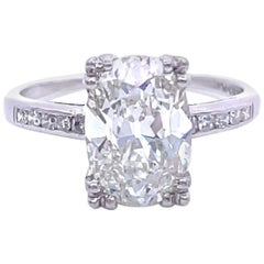 Art Deco GIA 2.54 Carat Oval Cut Diamond Platinum Engagement Ring