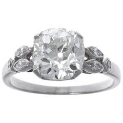 Art Deco GIA 2.56 Carat Old Mine Cut Diamond Platinum Engagement Ring