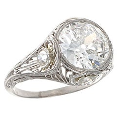 Art Deco GIA 2.68 Carat Old European Cut Diamond Platinum Engagement Ring