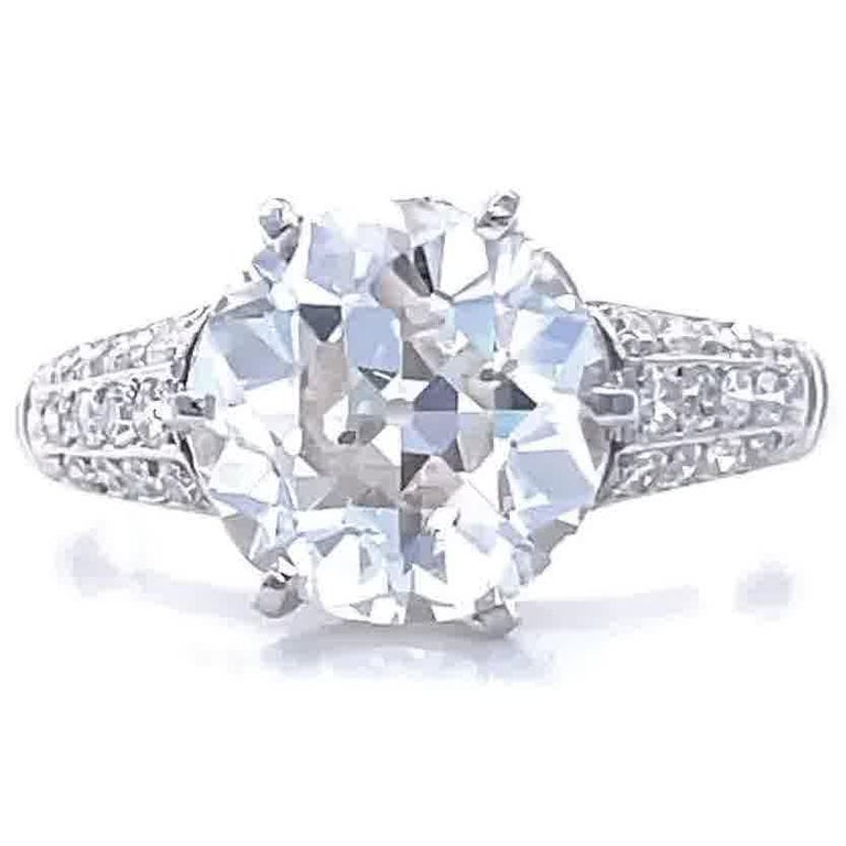 Art Deco GIA 3.06 Carat Old European Cut Diamond Platinum Engagement Ring In Excellent Condition For Sale In Beverly Hills, CA