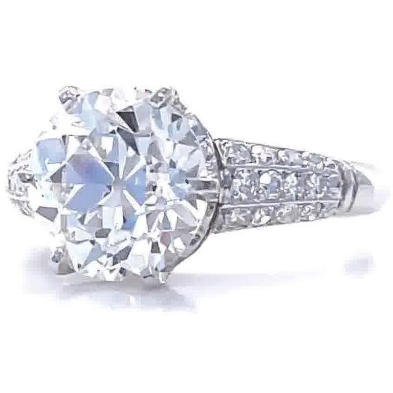 Women's Art Deco GIA 3.06 Carat Old European Cut Diamond Platinum Engagement Ring For Sale