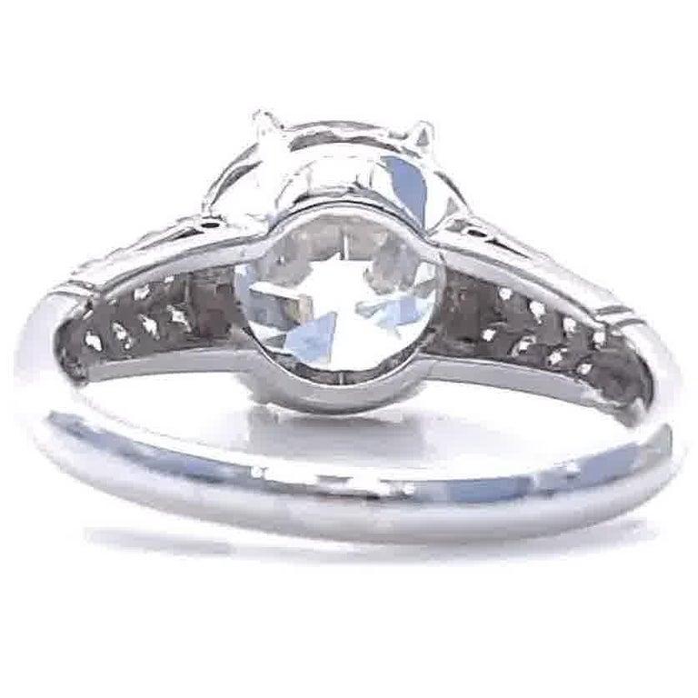 Art Deco GIA 3.06 Carat Old European Cut Diamond Platinum Engagement Ring For Sale 1