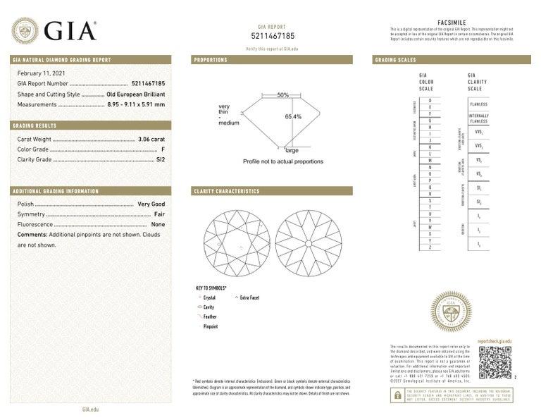 Art Deco GIA 3.06 Carat Old European Cut Diamond Platinum Engagement Ring For Sale 2