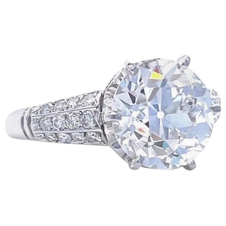Art Deco GIA 3.06 Carat Old European Cut Diamond Platinum Engagement Ring For Sale