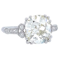 Art Deco GIA 3.11 Carat Antique Cushion Cut Diamond Platinum Engagement Ring