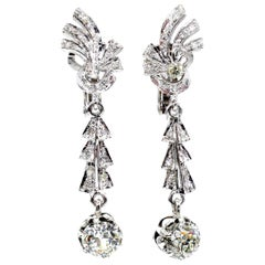 Art Deco GIA 3.25 Carat Old European Cut Diamond Drop Hanging 18 Karat Earrings