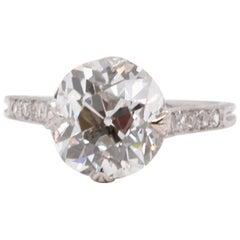 Art Deco GIA 3.26 Carat Old European Cut Diamond Platinum Ring