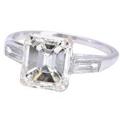 Art Deco GIA 3.44 Carat Emerald Cut Diamond Platinum Engagement Ring