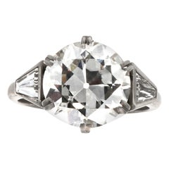 Art Deco GIA 3.52 Carat Diamond Platinum Ring
