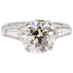Art Deco GIA 3.55 Carat Old European Cut Diamond Platinum Ring