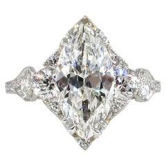 Art Deco GIA 3.78 Carat Old Marquise Cut Diamond Engagement Platinum Ring