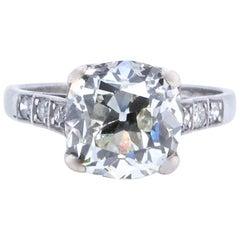 Art Deco GIA 4.02 Carat Cushion Cut Diamond Platinum Ring