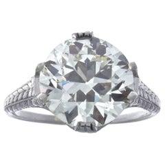Art Deco GIA 4.59 Old European Cut Diamond Platinum Engagement Ring