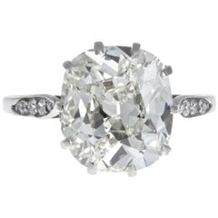 Art Deco GIA 5.02 Carat Antique Cushion Cut Diamond Platinum Ring