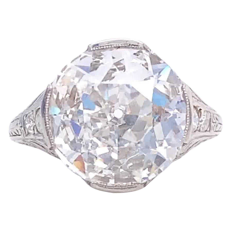GIA 5.04 Carat Old European Cut Diamond Platinum Engagement Ring