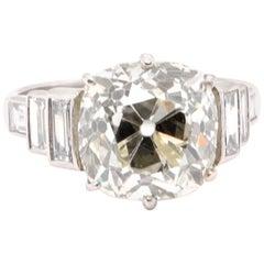 Art Deco GIA 5.42 Carat Old Mine Brilliant Cut Diamond Platinum Ring