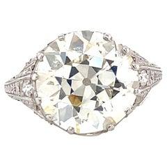 Art Deco GIA 6.30 Carat Brilliant Cut Diamond Platinum Solitaire Engagement Ring