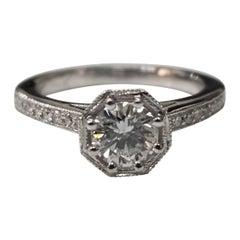 Art Deco GIA .63pts, E SI1 Diamond Engraved Diamond Ring