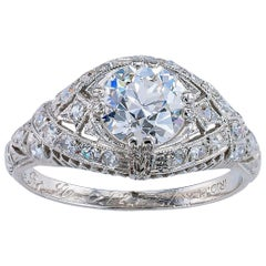 Art Deco GIA Certified 1.01 Carat Old European Diamond Platinum Engagement Ring