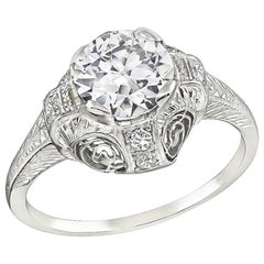Art Deco GIA Certified 1.18 Carat Diamond Engagement Ring
