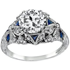 Art Deco GIA Certified 1.25 Carat Diamond Engagement Ring