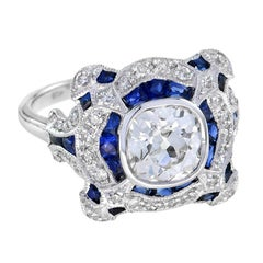 Art Deco Style GIA Certified 1.52 Carat Diamond Sapphire Ring in 18K White Gold