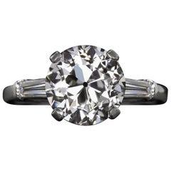 Art Deco GIA Certified 1.75 Carat Old European Cut Diamond Platinum Ring