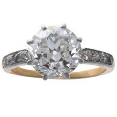 Art Deco GIA Certified 3.23 Carat Round Cut Diamond 18 Karat Ring