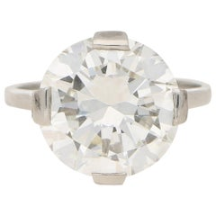 Art Deco GIA Certified 7.49 Carat Solitaire Diamond Engagement Ring in Platinum