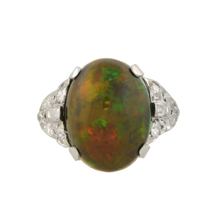 Art Deco GIA Certified Black Opal Diamond Ring In Excellent Condition For Sale In Narberth, PA