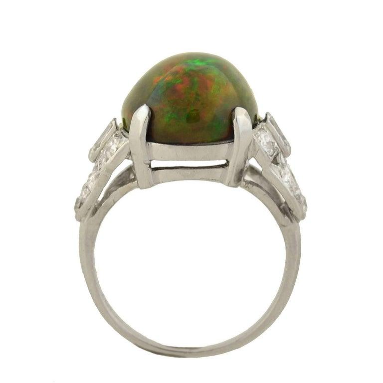 Women's Art Deco GIA Certified Black Opal Diamond Ring For Sale