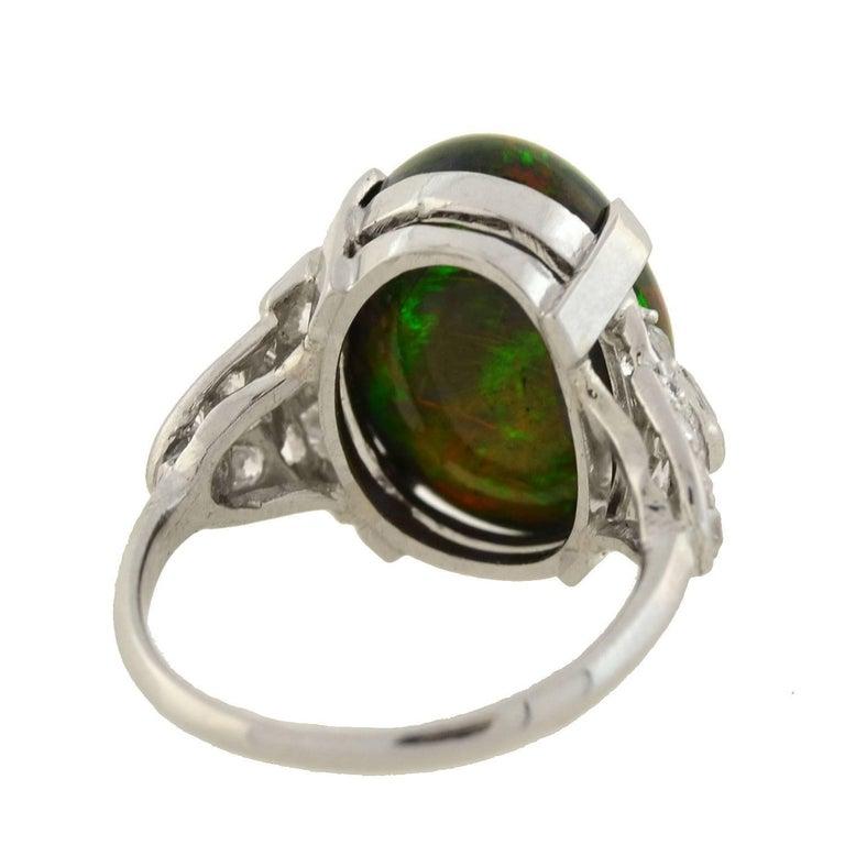 Art Deco GIA Certified Black Opal Diamond Ring For Sale 1