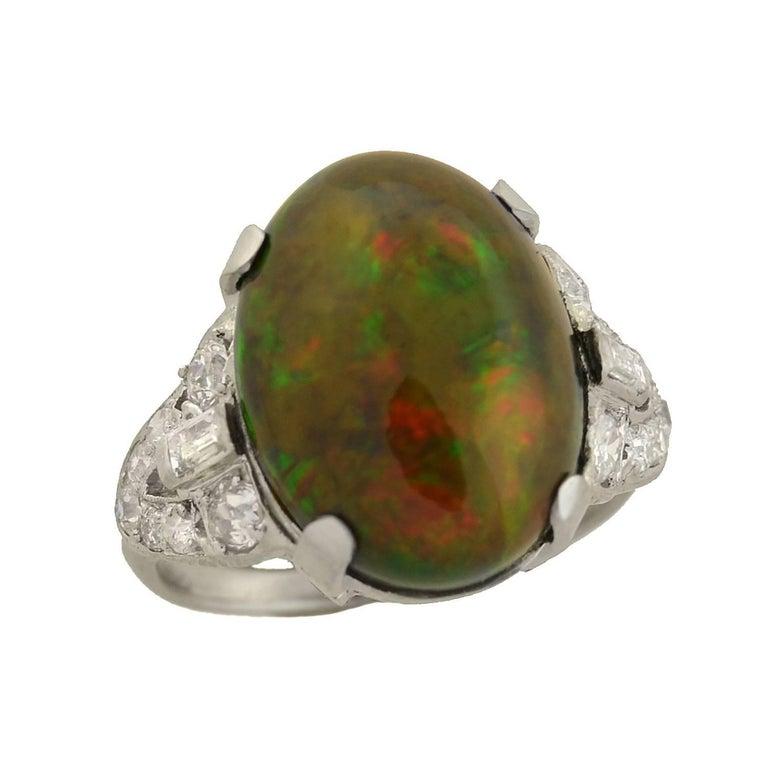 Art Deco GIA Certified Black Opal Diamond Ring For Sale 2
