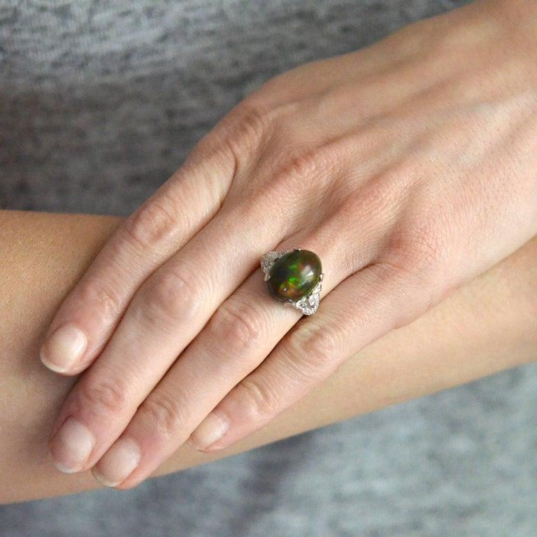 Art Deco GIA Certified Black Opal Diamond Ring For Sale 4