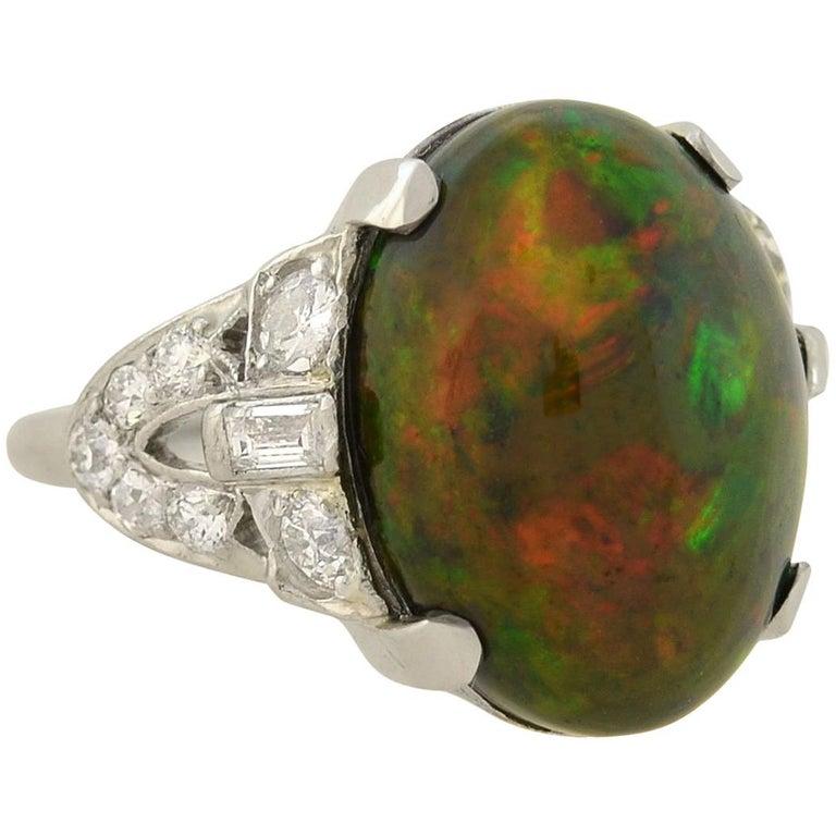Art Deco GIA Certified Black Opal Diamond Ring For Sale
