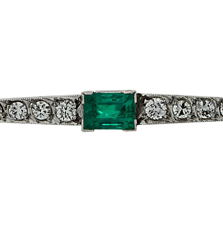 Emerald Cut Art Deco GIA Certified Colombian Emerald and Diamond Brooch Pin For Sale