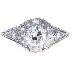 Art Deco GIA Certified Diamond Platinum Filigree Ring