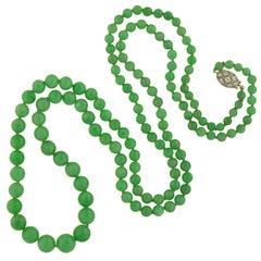Art Deco GIA Certified Natural Jadeite Bead Necklace with Platinum Diamond Clasp