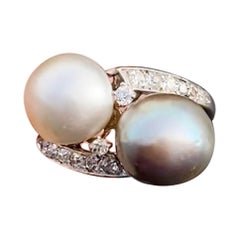 Art Deco GIA Certified Natural Pearl Diamond Toi-et-Moi Engagement Ring French