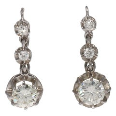 Art Deco GIA Certified Old European Cut Diamond Gold Drop Earrings