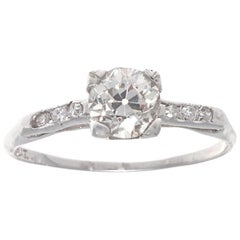 Art Deco GIA Certified Old European Cut Diamond Platinum Engagement Ring